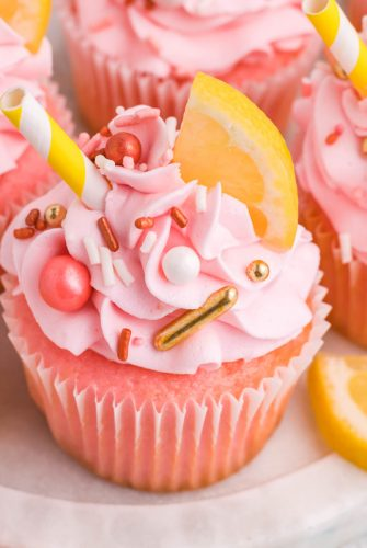 close up of pink lemonade cupcakes