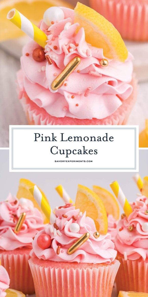 long pin for pinterest for pink lemonade cupcakes