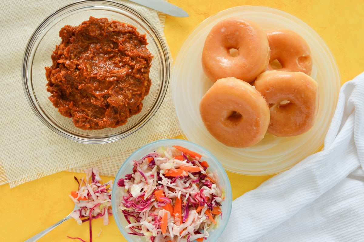 ingredients for pulled pork donut sandwiches