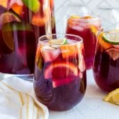 easy red sangria recipe in a stemless wine glass