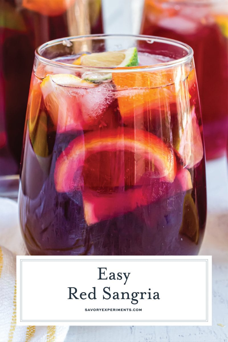 close up of a glass of red sangria wine
