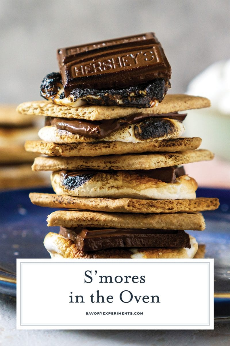 close up of smores on a blue plate