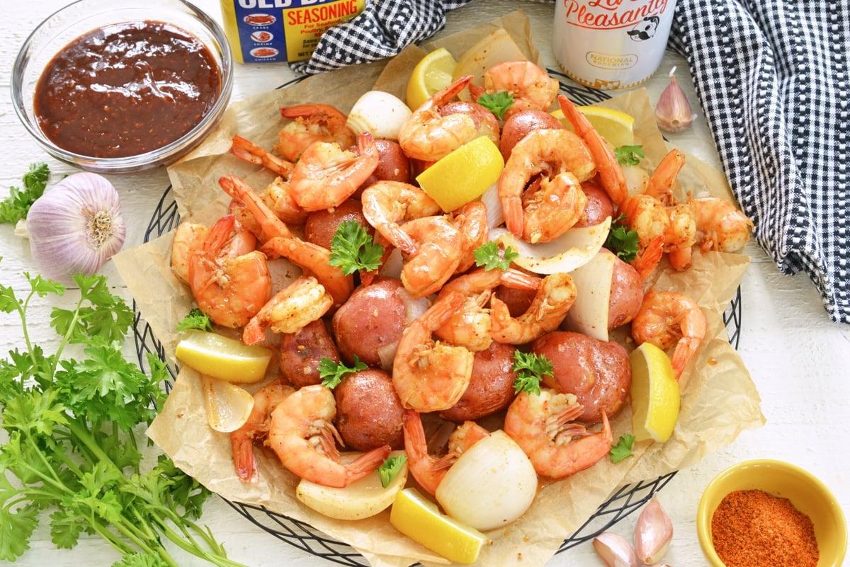 overhead platter of steamed shrimp with old bay seasoning