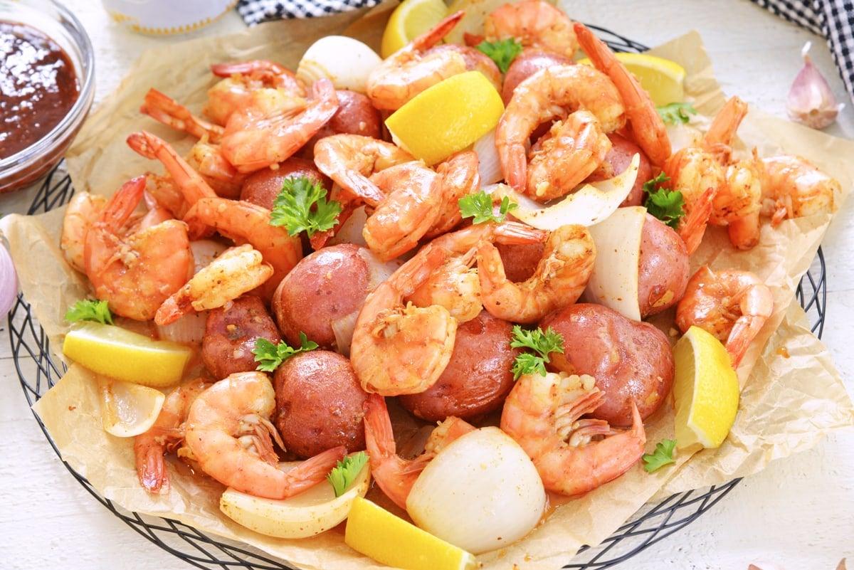 angle platter of steamed shrimp