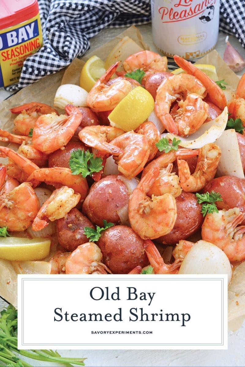 close up of steamed shrimp for pinterest