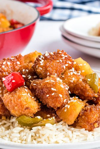 angle plate of crispy sweet and sour chicken