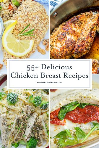 collage of chicken breast recipes
