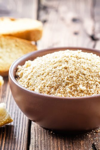 wooden bowl of homemade bread crumbs