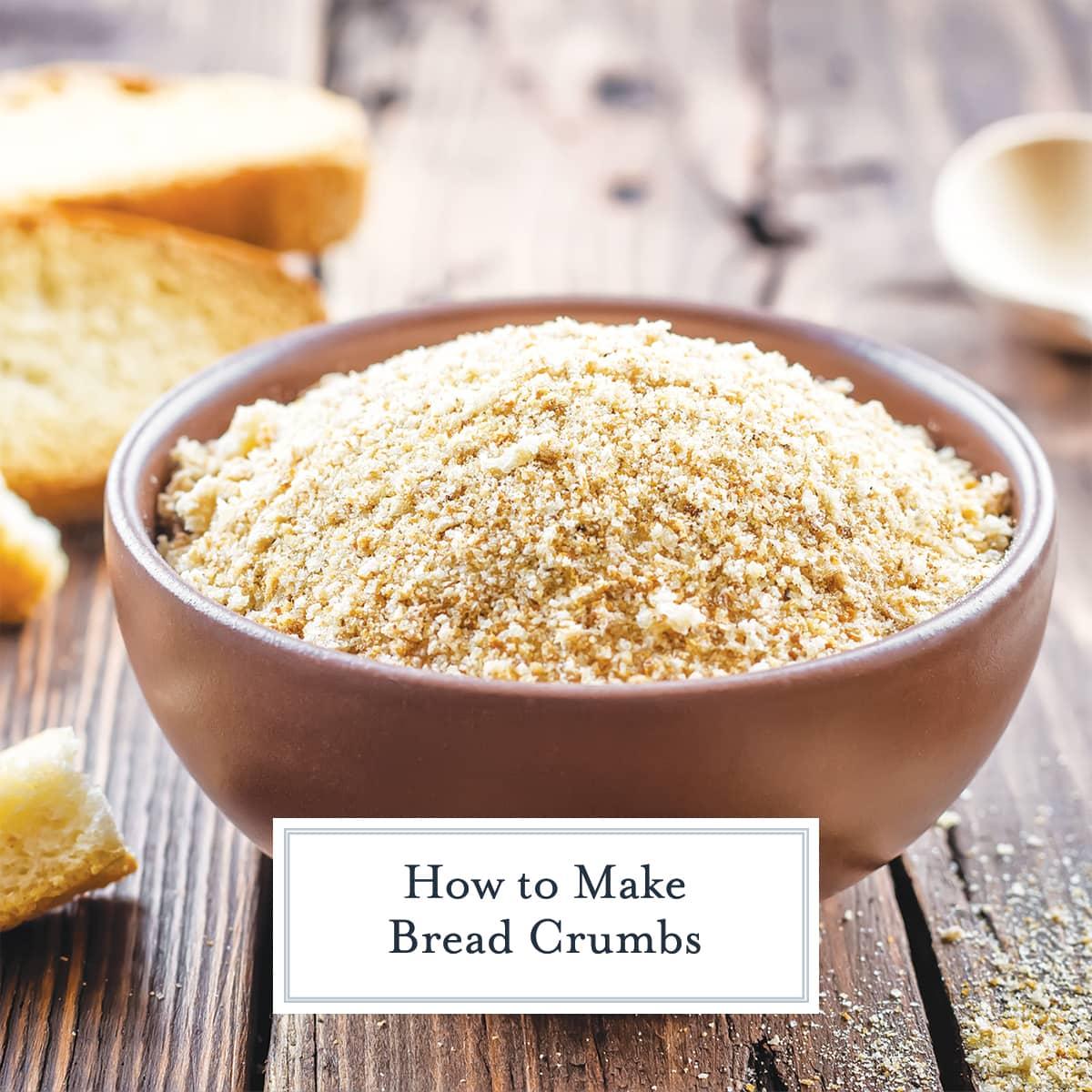 wooden bowl of plain breadcrumbs