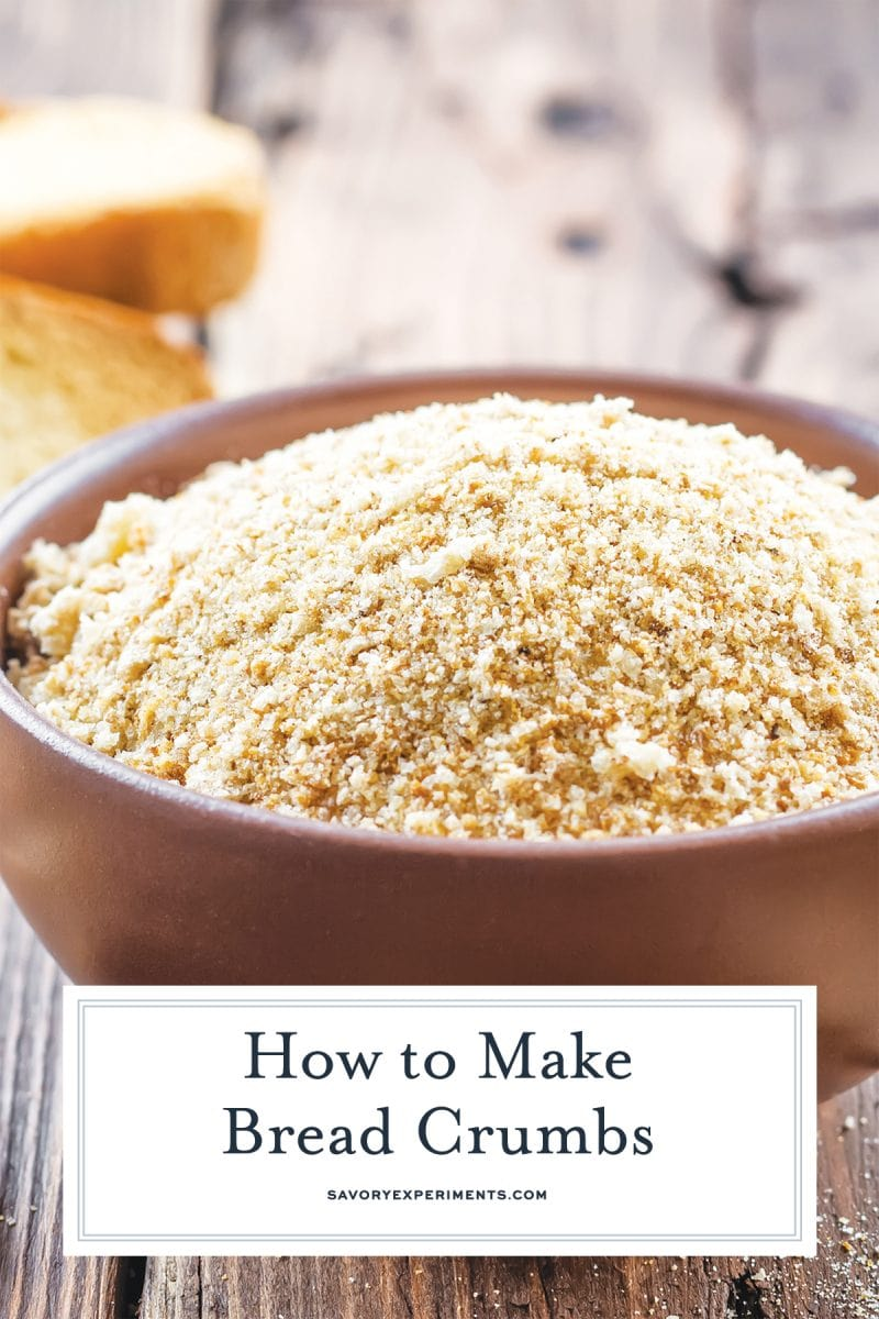 close up bowl of homemade bread crumbs for pinterest
