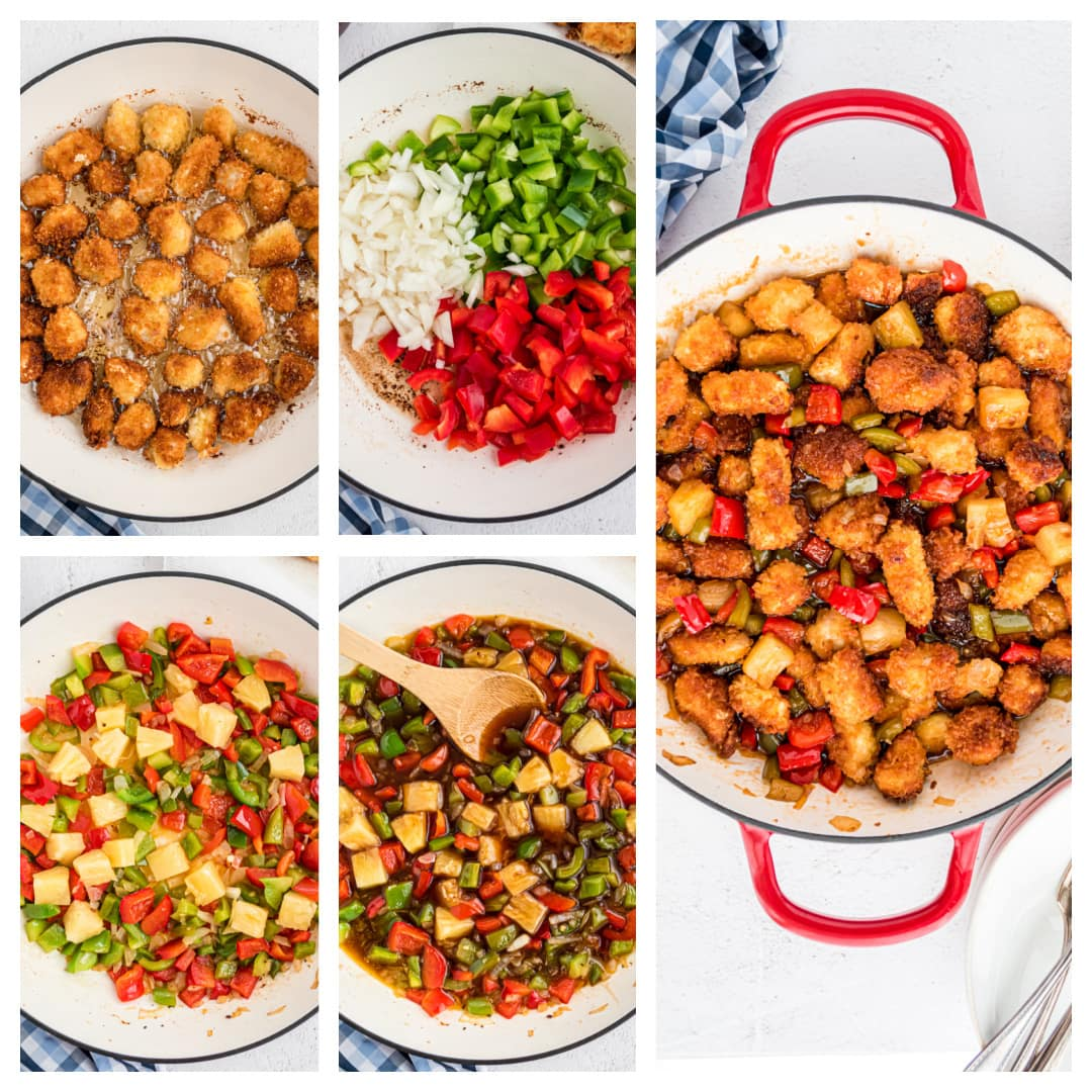 step-by-step photos of how to make homemade sweet and sour chicken