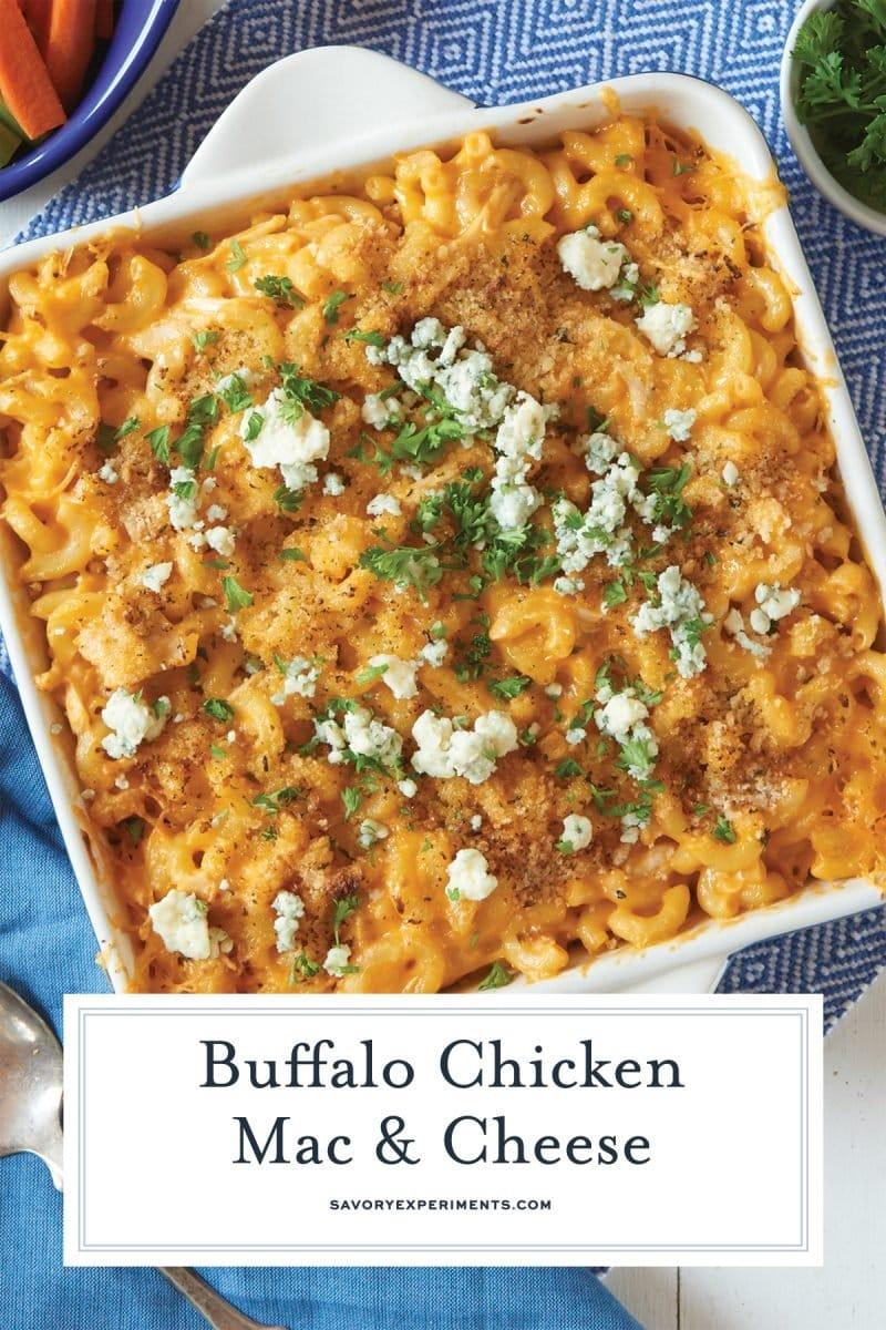 close up of buffalo chicken mac and cheese