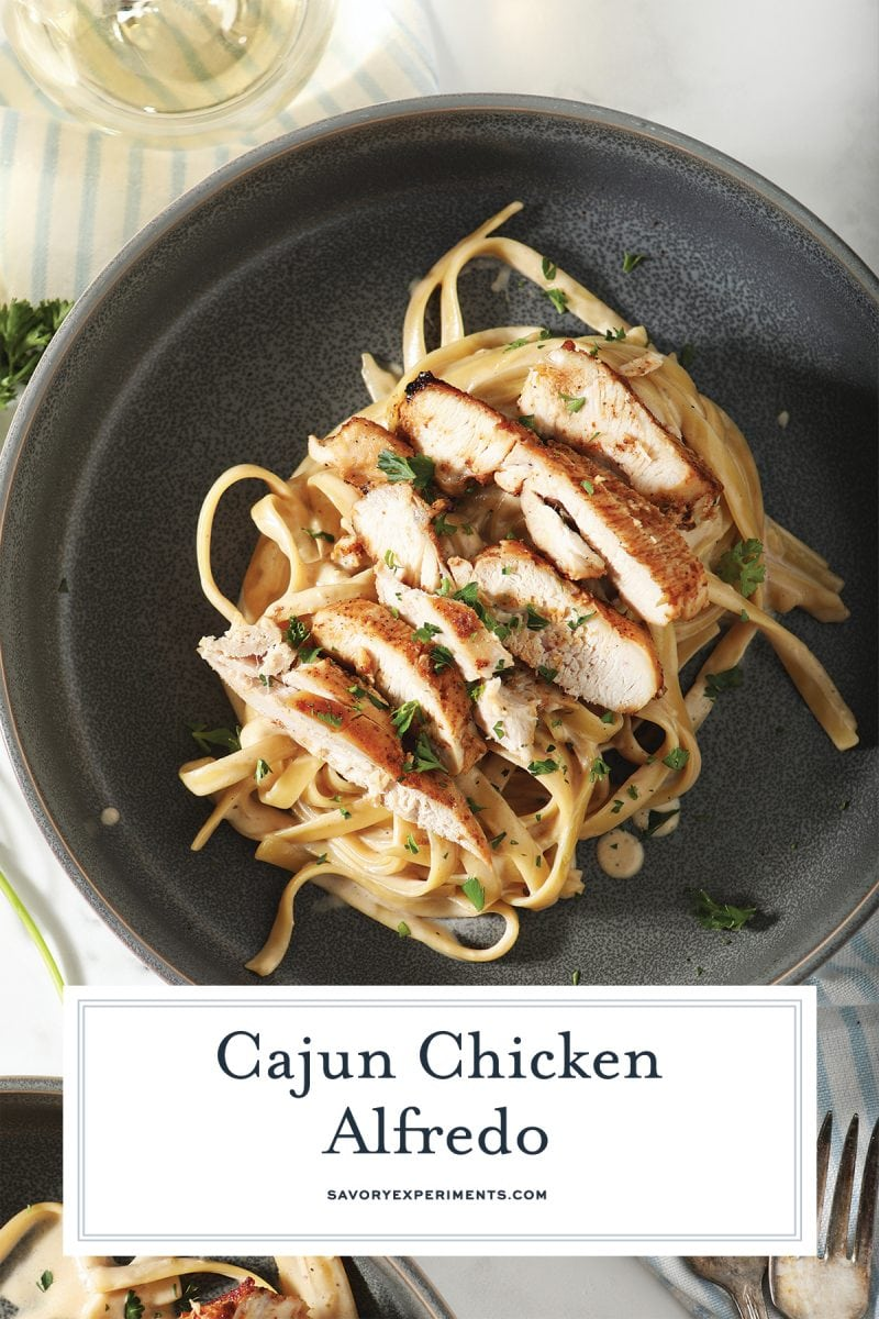close up of cajun chicken alfredo for pinterest