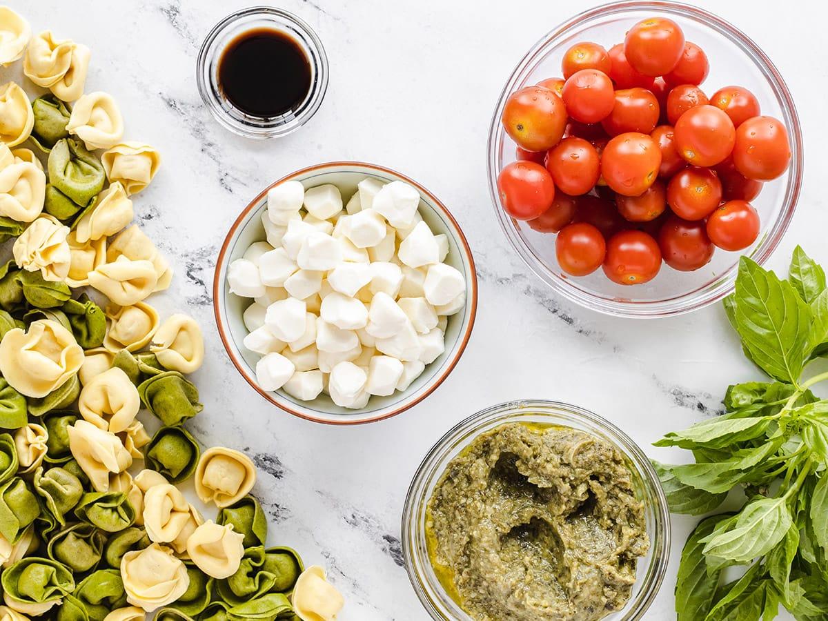 ingredients for caprese salad tortellini skewers