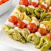 platter of tortellini salad kabobs