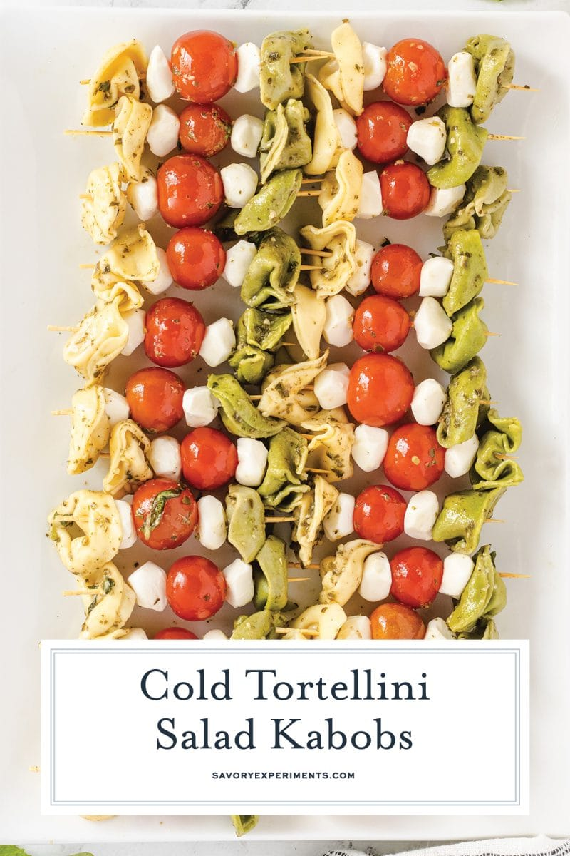 close up of tortellini salad skewers