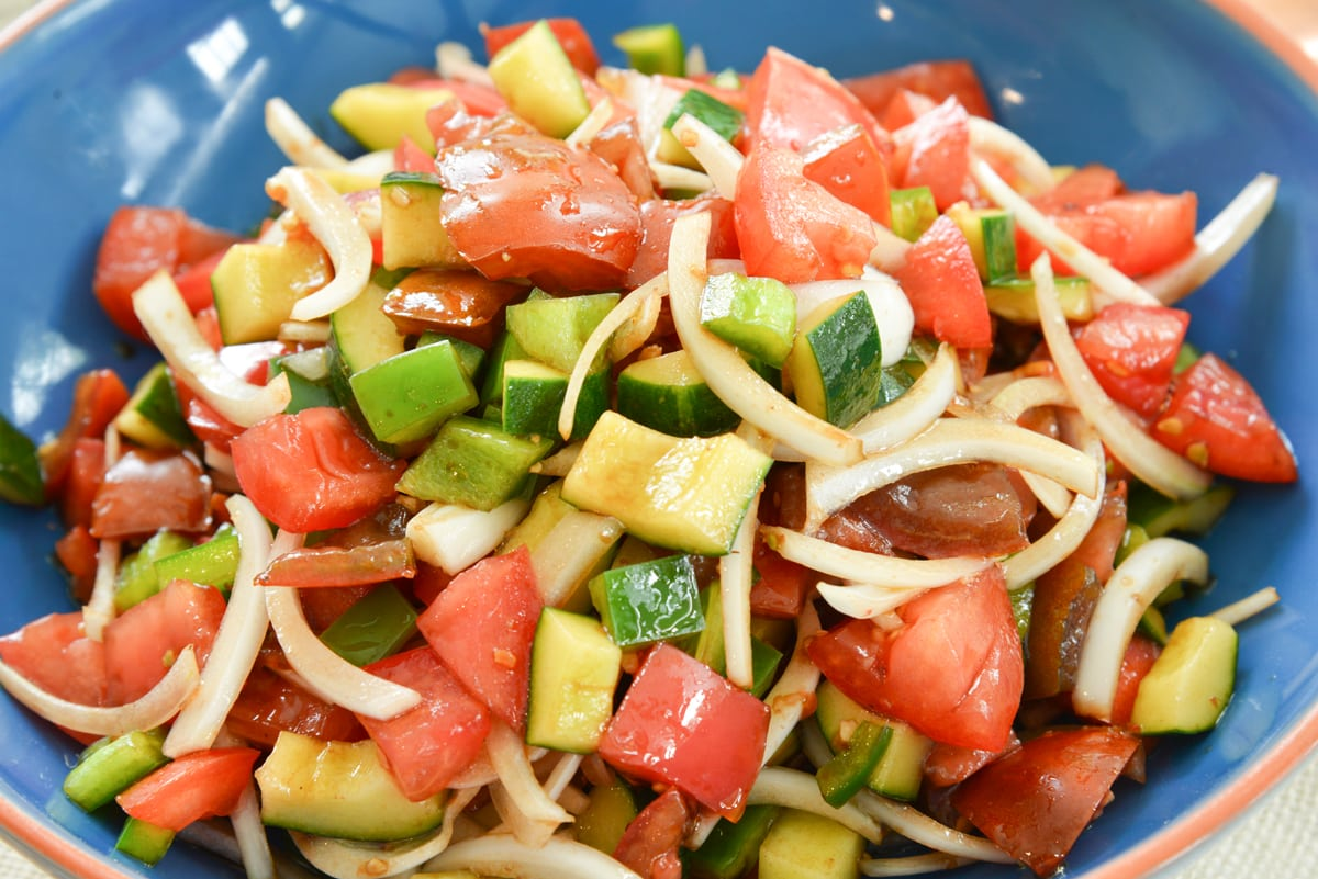 close up of tomato salad with cucumbers
