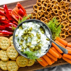 dill pickle dip with dippers