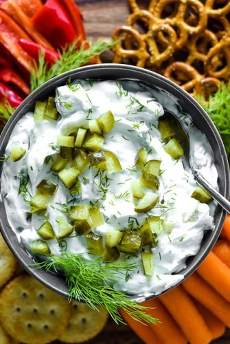 close up of dill pickle dip sandwich