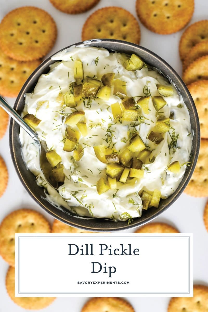 overhead of dill pickle dip in a bowl