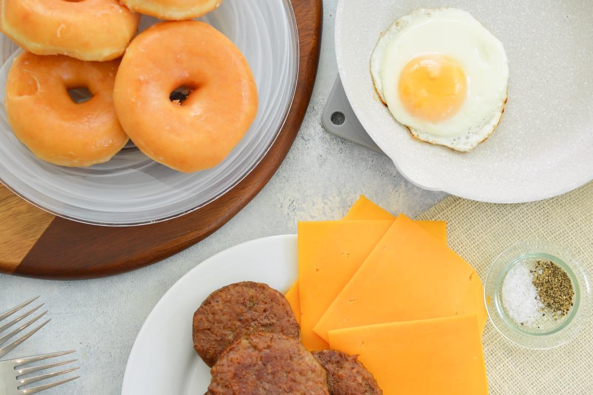 ingredients for donut breakfast sandwiches