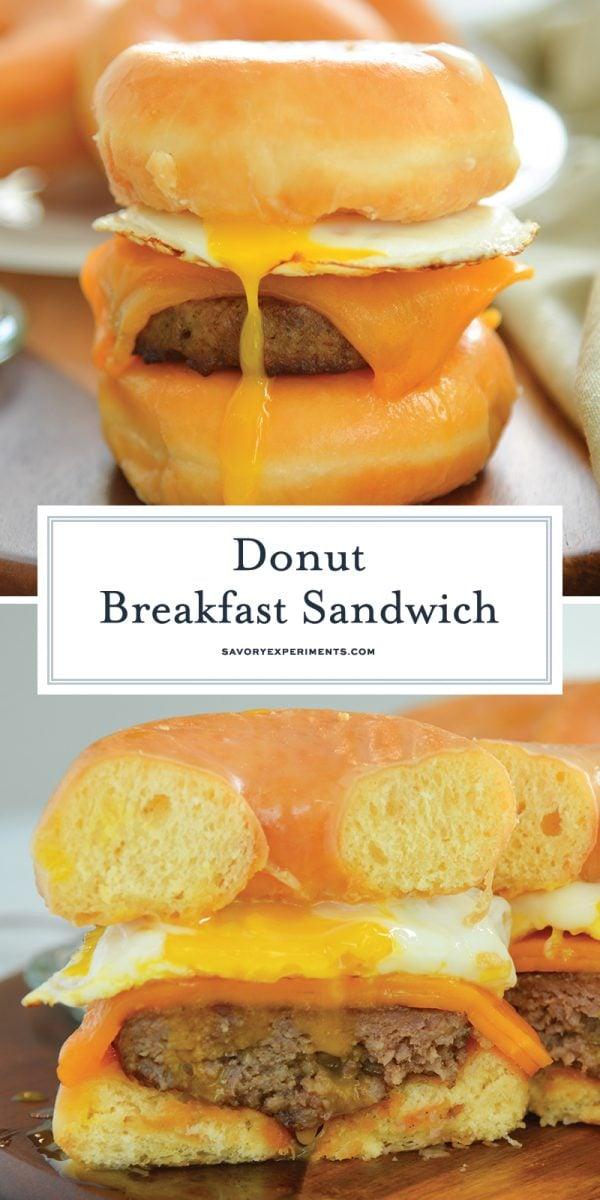 donut breakfast sandwich for pinterest