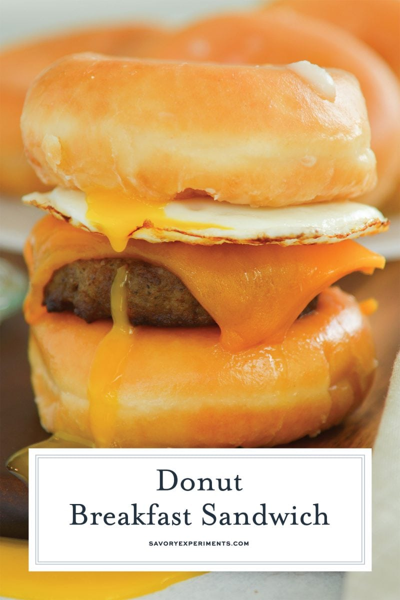 close up of layers of donut breakfast sandwich