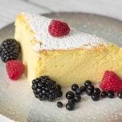 slice of japanese cheesecake with fresh berries