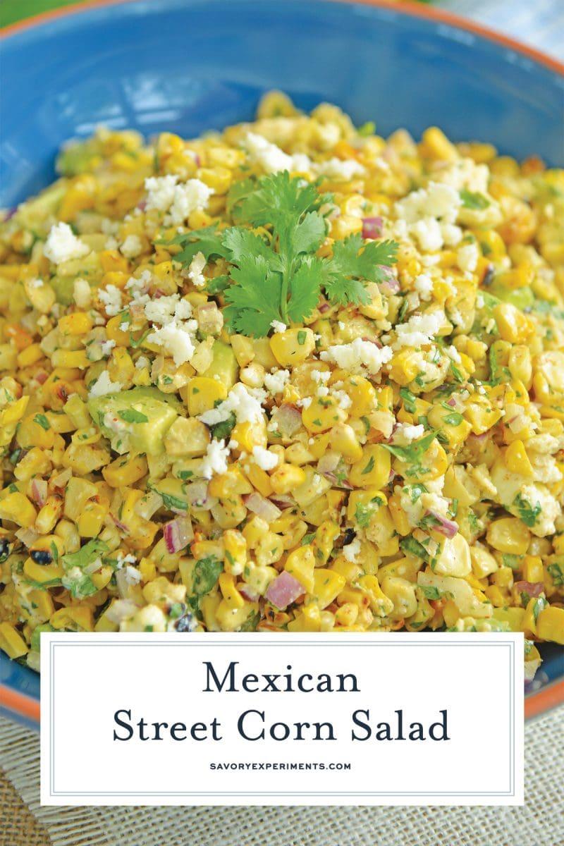 close up of street corn salad recipe