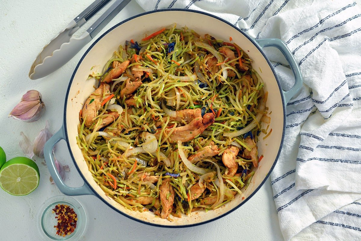 overhead of chicken noodle stir fry with veggies