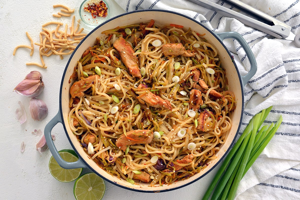 overhead of chicken stir fry with noodles in a pot