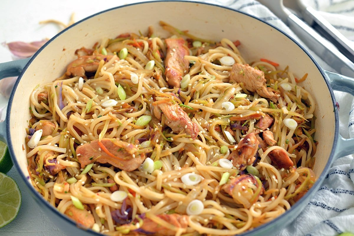 angle of chicken stir fry with noodles