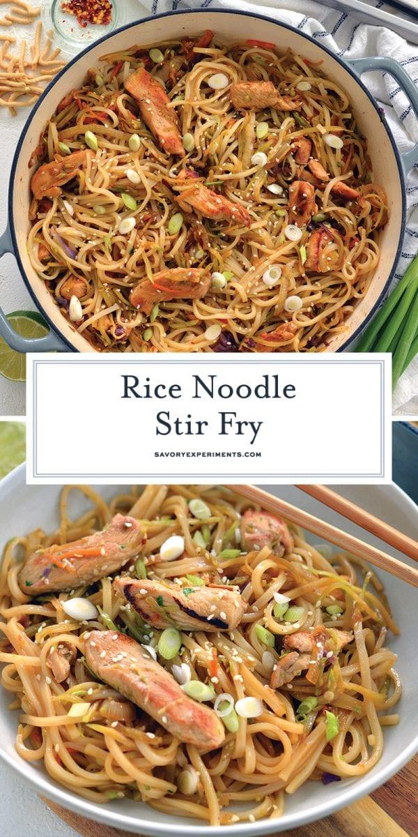 chicken rice noodle stir fry for pinterest