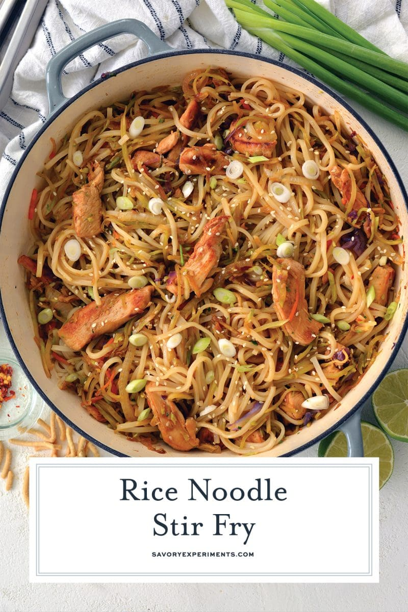 close up of chicken rice noodle stir fry recipe