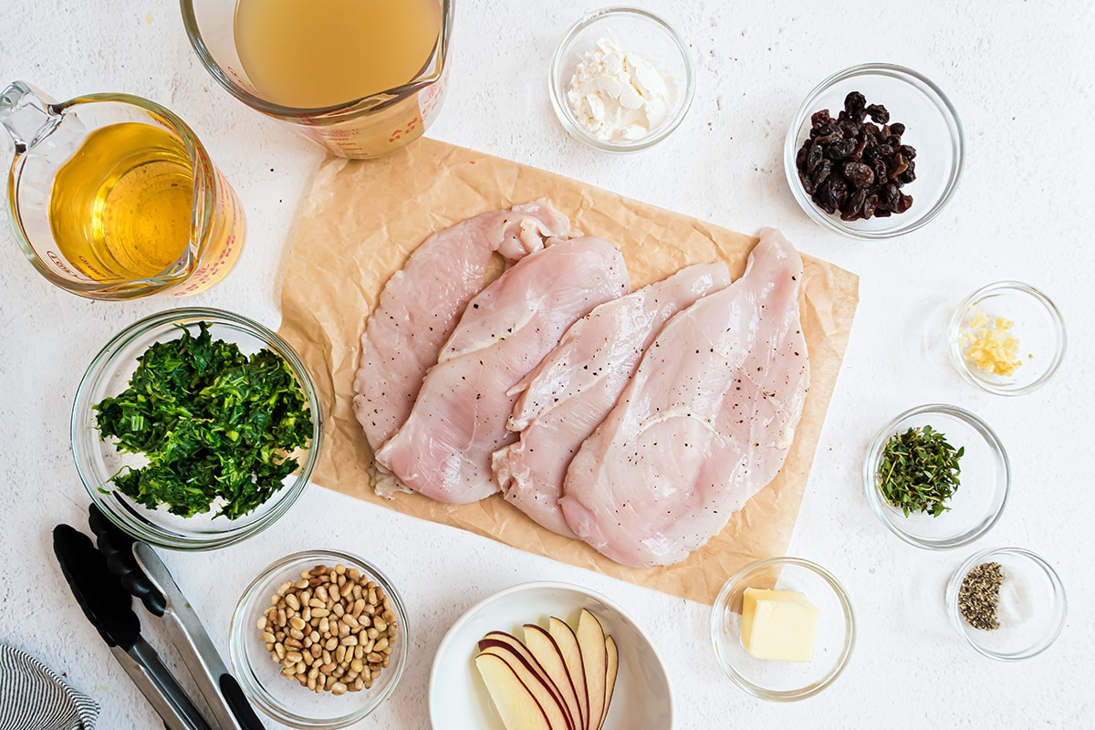 ingredients for spinach stuffed chicken breasts
