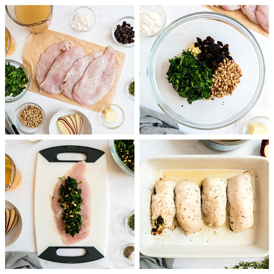 step by step how to make spinach stuffed chicken breasts