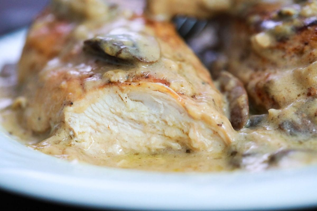 cross sectional view of chicken breast cut in half