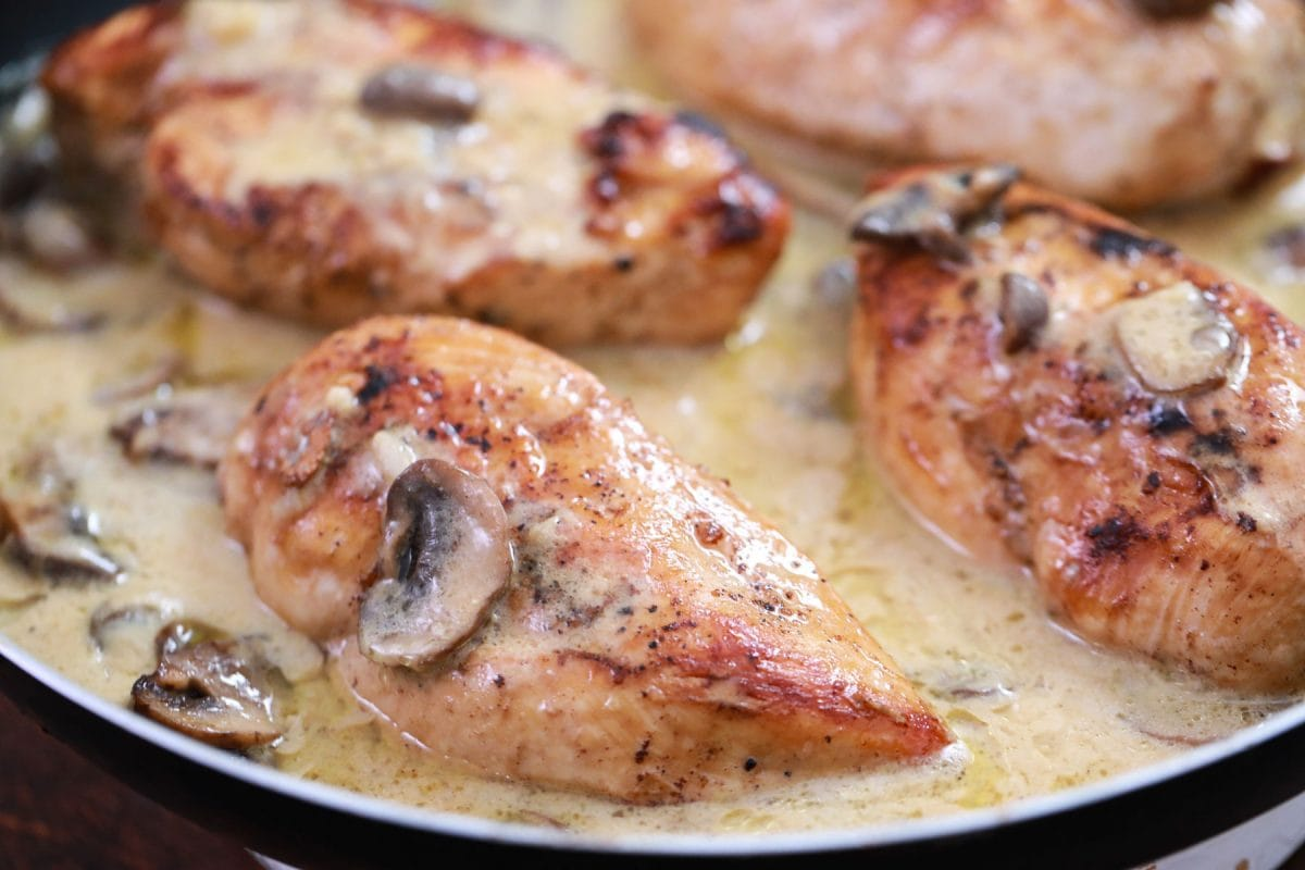 angle view of chicken in marsala sauce