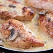 chicken marsala with mushrooms in a skillet