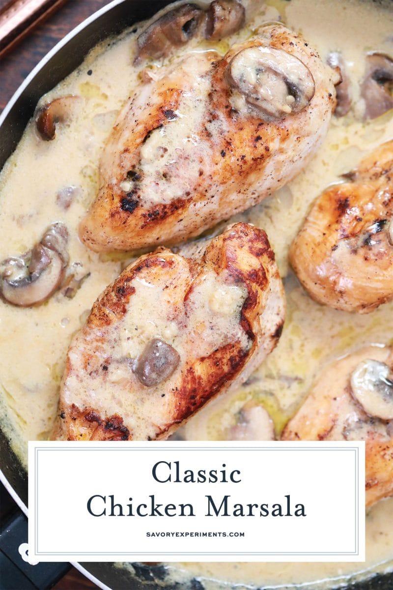 close up of chicken marsala in a skillet