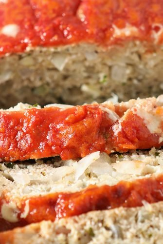 overhead slices of italian meatloaf