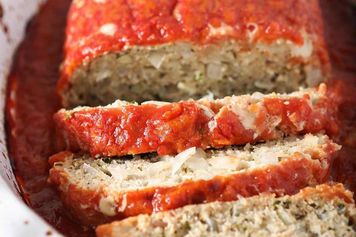 close up of meatloaf slices