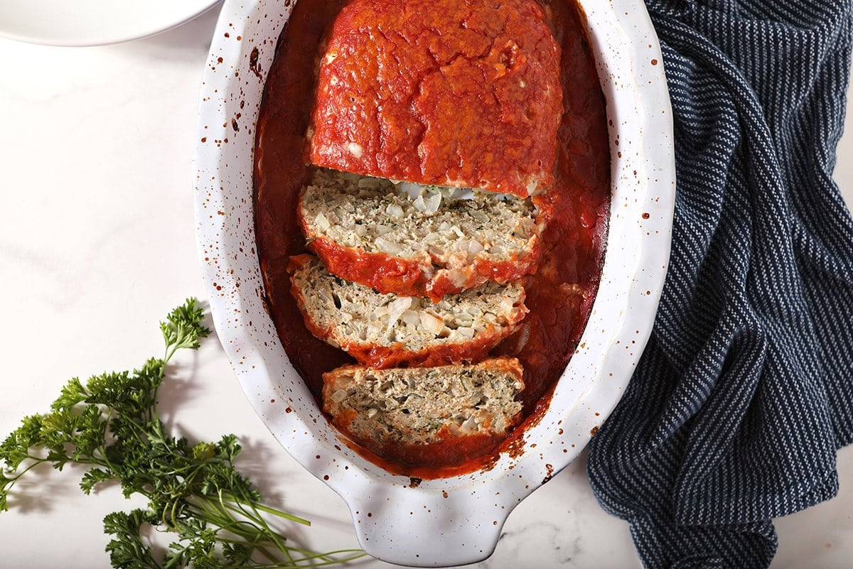 overhead of meatloaf in a baking dish