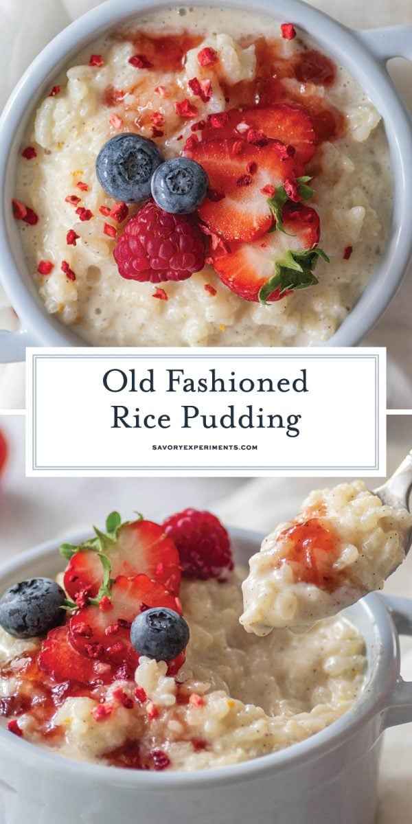 long image of rice pudding recipe for pinterest