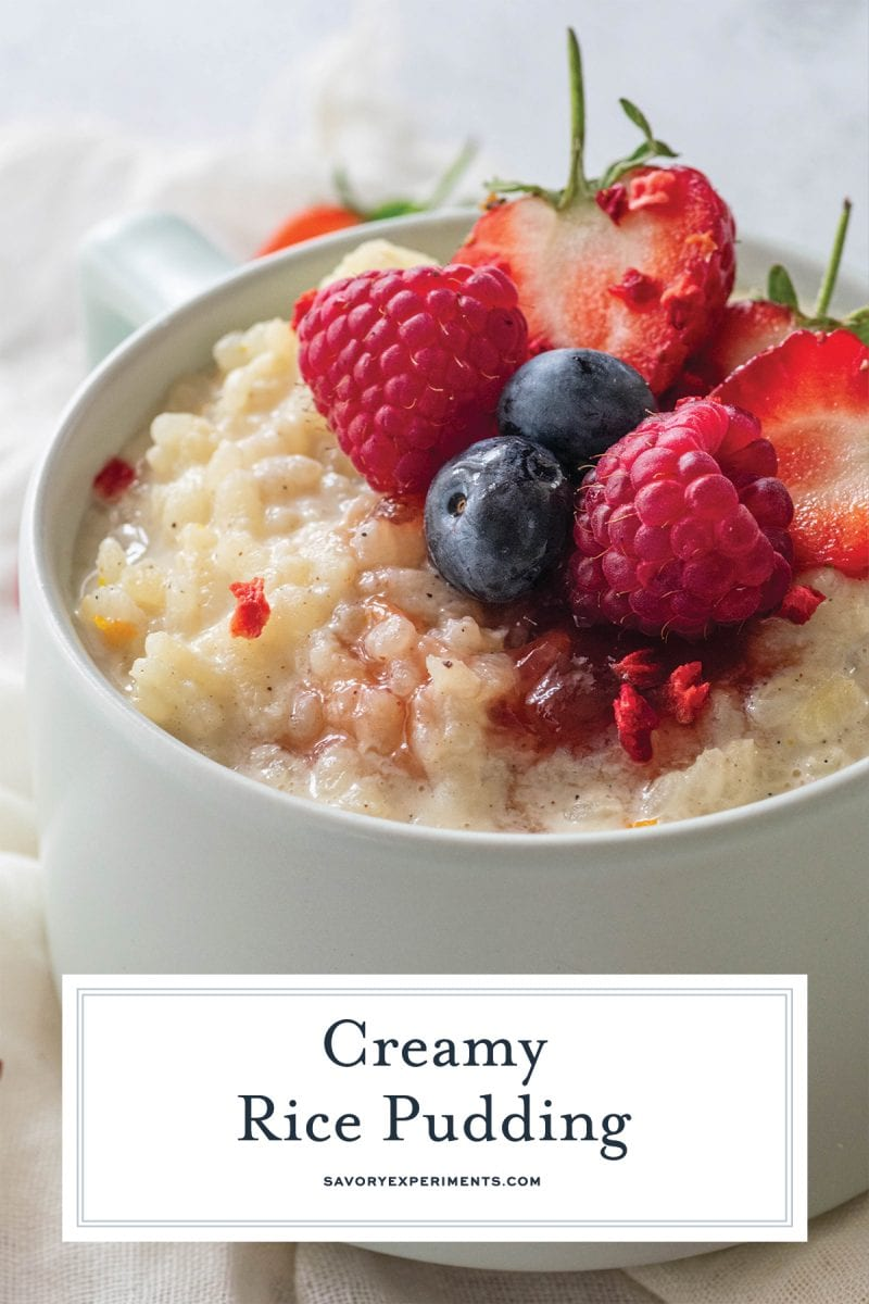 close up of creamy rice pudding with fresh fruit