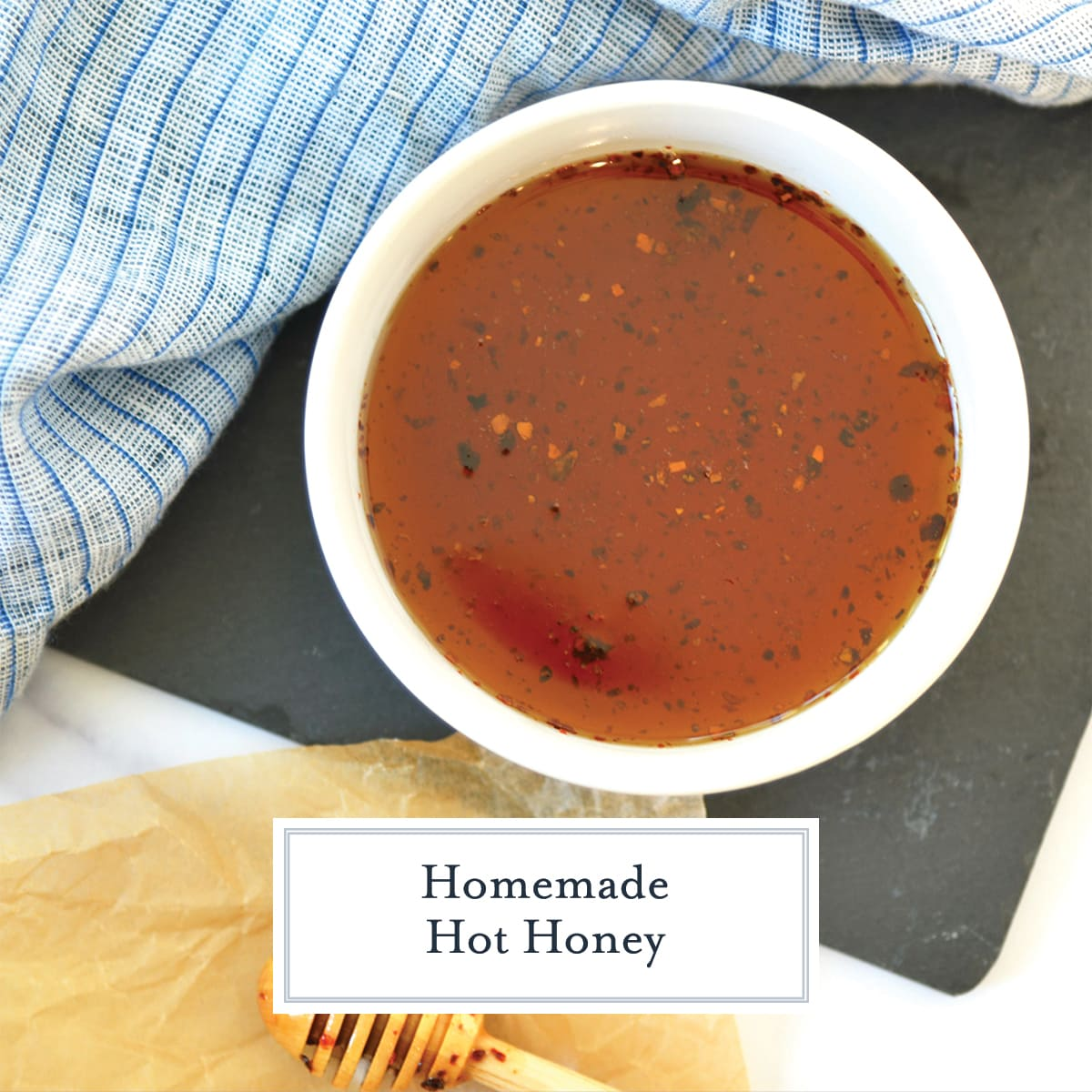 overhead of hot honey in a white serving dish