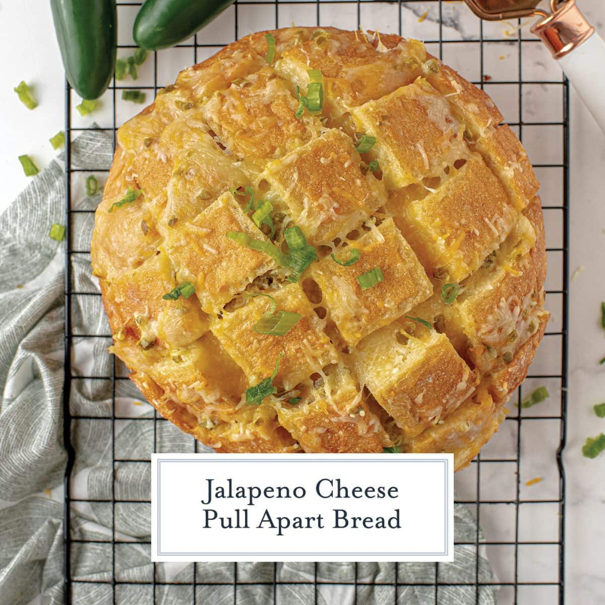 overhead of jalapeno cheese bread on a wire rack