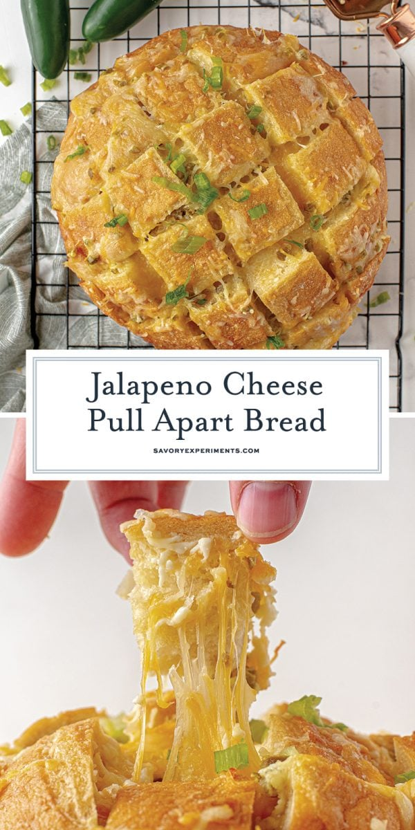long pin for cheesy pull apart bread for pinterest