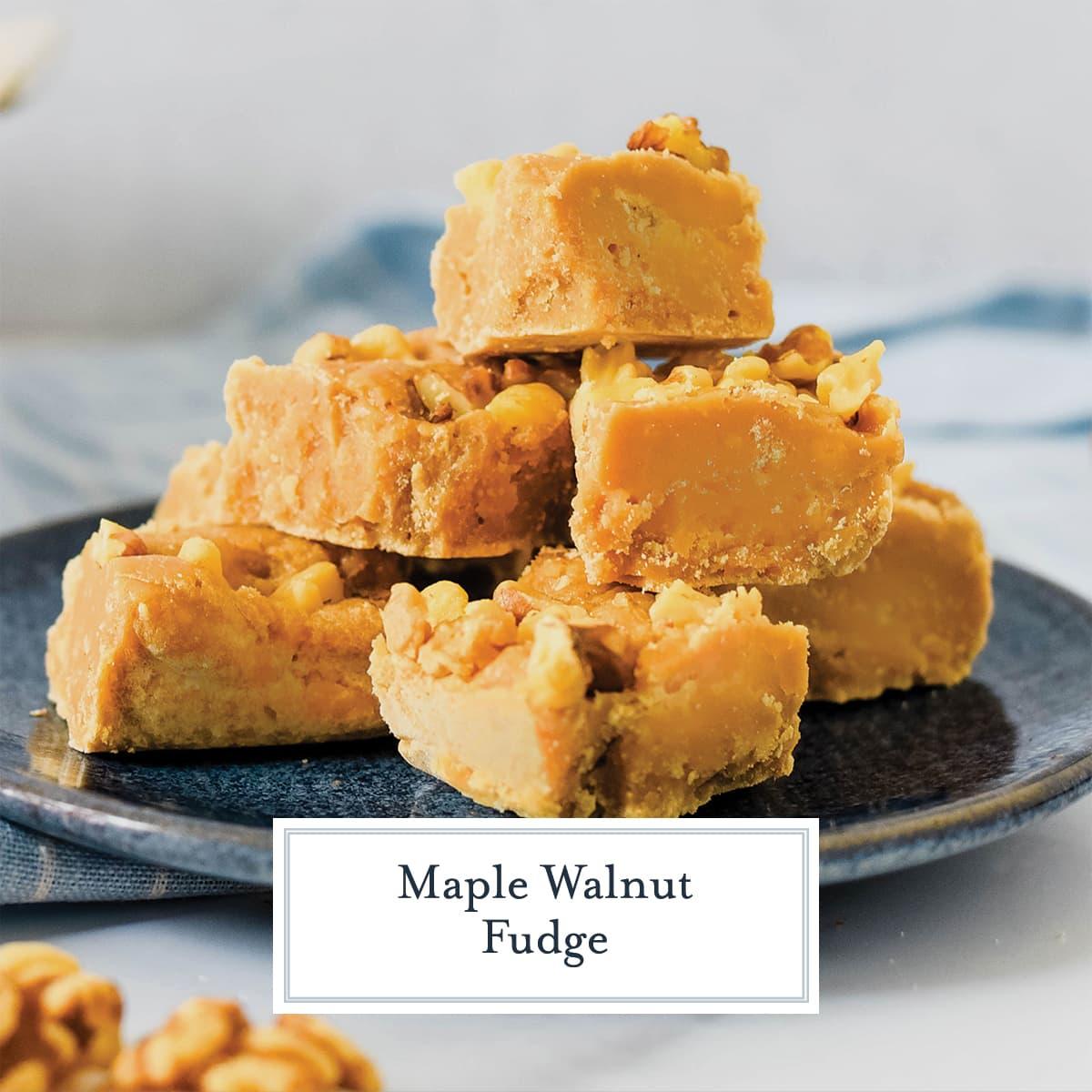 close up of maple fudge squares
