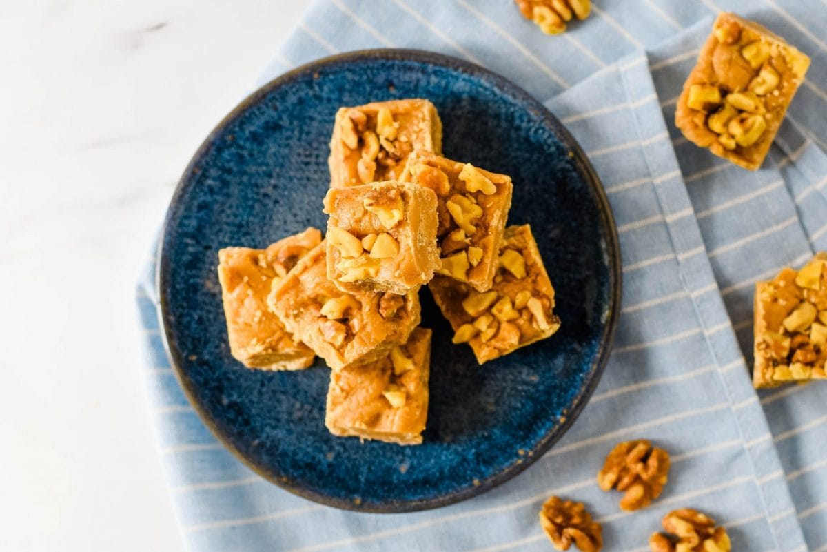 overhead of a plate with maple walnut fudge